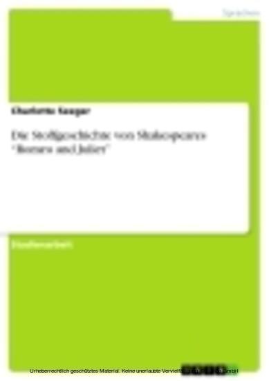 Die Stoffgeschichte von Shakespeares 'Romeo and Juliet' - Blick ins Buch