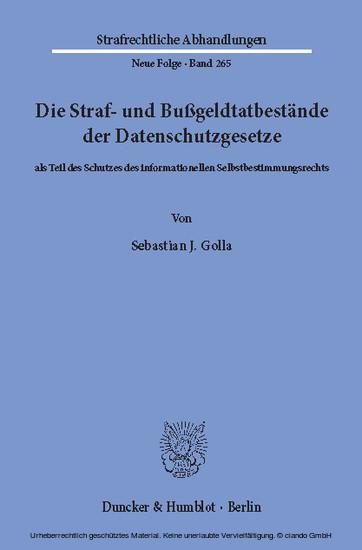 Die Straf- und Bußgeldtatbestände der Datenschutzgesetze - Blick ins Buch