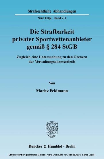 Die Strafbarkeit privater Sportwettenanbieter gemäß § 284 StGB. - Blick ins Buch