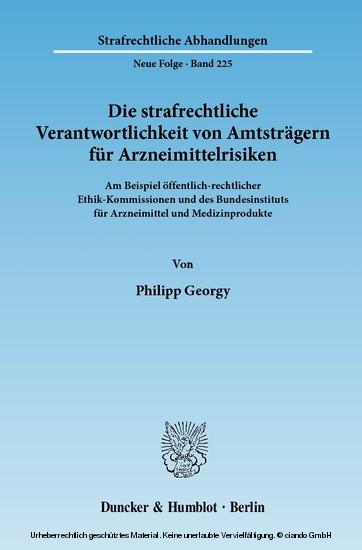 Die strafrechtliche Verantwortlichkeit von Amtsträgern für Arzneimittelrisiken. - Blick ins Buch