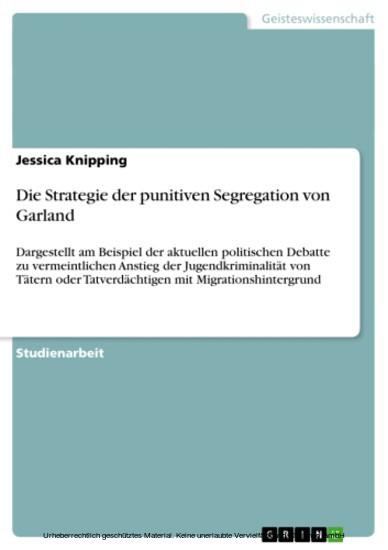 Die Strategie der punitiven Segregation von Garland - Blick ins Buch