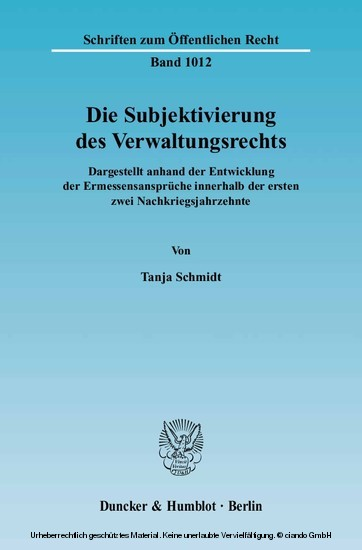 Die Subjektivierung des Verwaltungsrechts. - Blick ins Buch