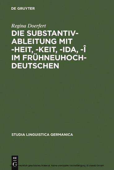 Die Substantivableitung mit -heit, -keit, -ida, -î im Frühneuhochdeutschen - Blick ins Buch