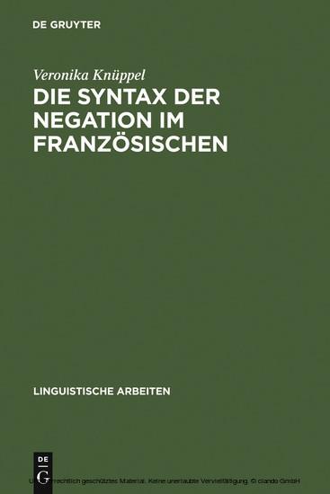 Die Syntax der Negation im Französischen - Blick ins Buch