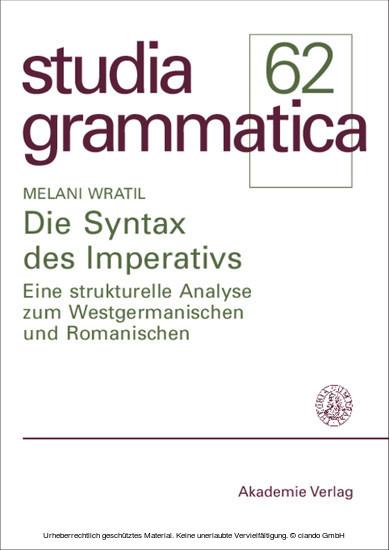 Die Syntax des Imperativs - Blick ins Buch