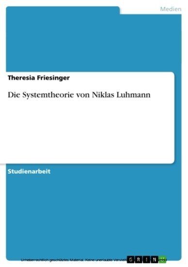 Die Systemtheorie von Niklas Luhmann - Blick ins Buch