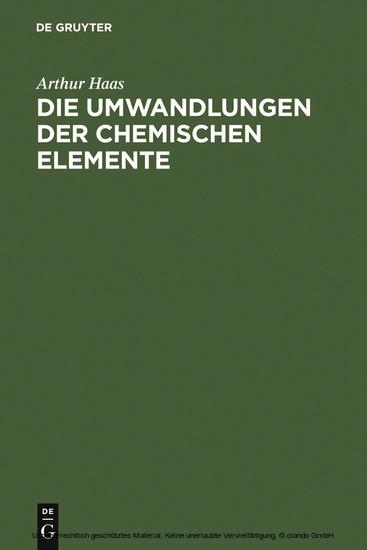 Die Umwandlungen der chemischen Elemente - Blick ins Buch