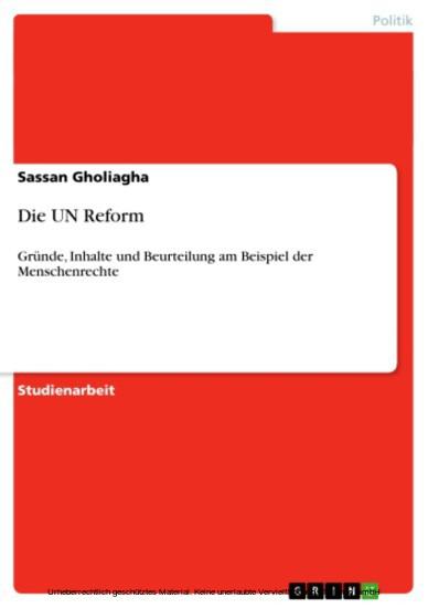 Die UN Reform - Blick ins Buch