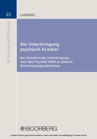 Die Unterbringung psychisch Kranker - Blick ins Buch