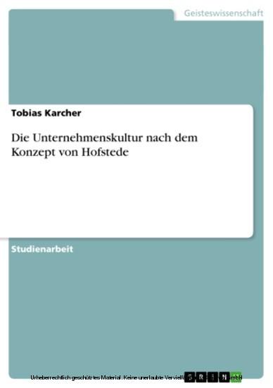 Die Unternehmenskultur nach dem Konzept von Hofstede - Blick ins Buch
