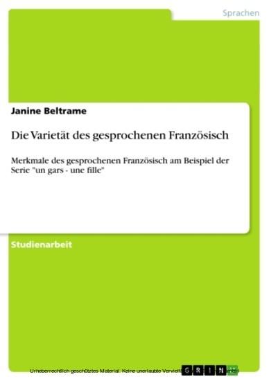 Die Varietät des gesprochenen Französisch - Blick ins Buch