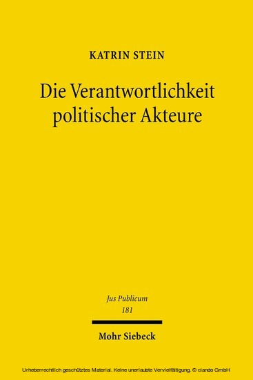 Die Verantwortlichkeit politischer Akteure - Blick ins Buch