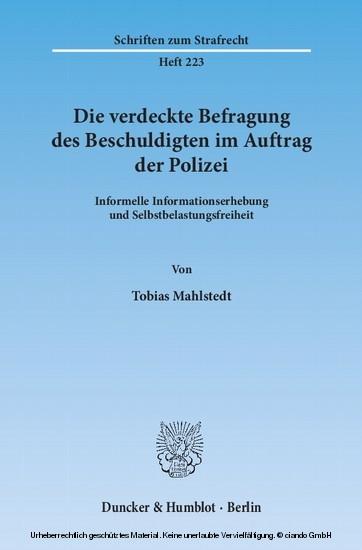 Die verdeckte Befragung des Beschuldigten im Auftrag der Polizei. - Blick ins Buch