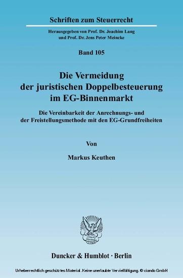 Die Vermeidung der juristischen Doppelbesteuerung im EG-Binnenmarkt. - Blick ins Buch