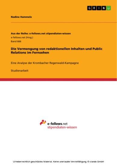 Die Vermengung von redaktionellen Inhalten und Public Relations im Fernsehen - Blick ins Buch