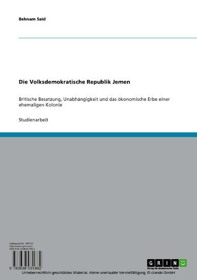 Die Volksdemokratische Republik Jemen - Blick ins Buch