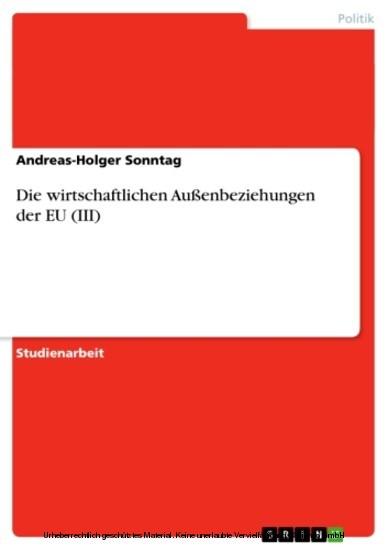 Die wirtschaftlichen Außenbeziehungen der EU (III) - Blick ins Buch