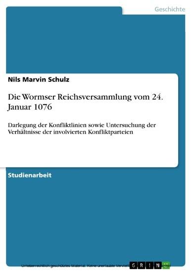 Die Wormser Reichsversammlung vom 24. Januar 1076 - Blick ins Buch