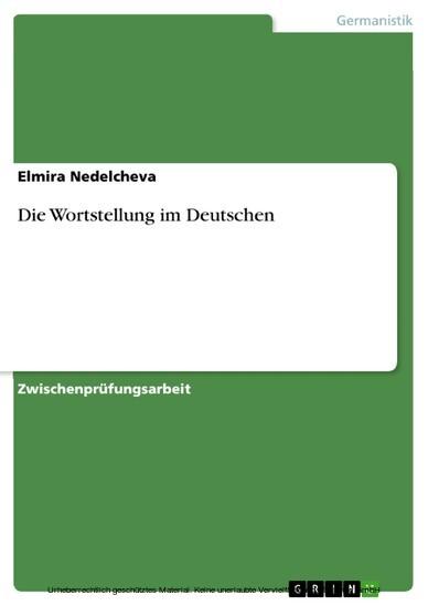 Die Wortstellung im Deutschen - Blick ins Buch