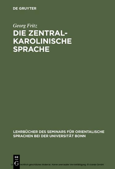 Die zentralkarolinische Sprache - Blick ins Buch