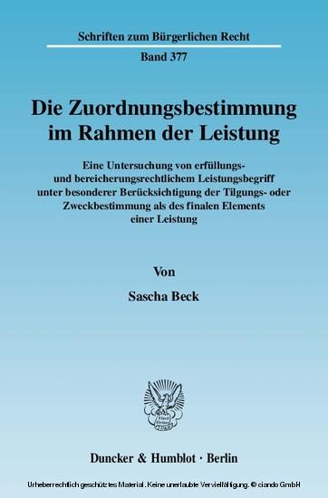 Die Zuordnungsbestimmung im Rahmen der Leistung. - Blick ins Buch