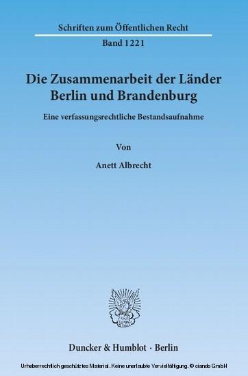 Die Zusammenarbeit der Länder Berlin und Brandenburg. - Blick ins Buch