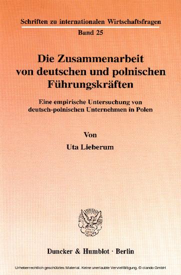 Die Zusammenarbeit von deutschen und polnischen Führungskräften. - Blick ins Buch