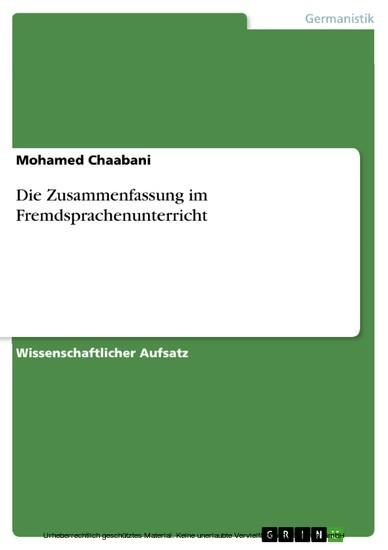 Die Zusammenfassung im Fremdsprachenunterricht - Blick ins Buch