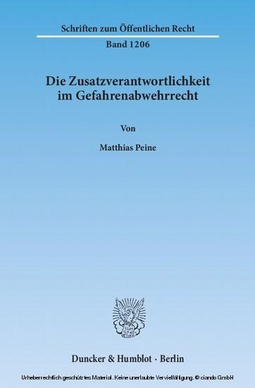 Die Zusatzverantwortlichkeit im Gefahrenabwehrrecht. - Blick ins Buch