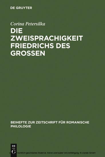 Die Zweisprachigkeit Friedrichs des Großen - Blick ins Buch