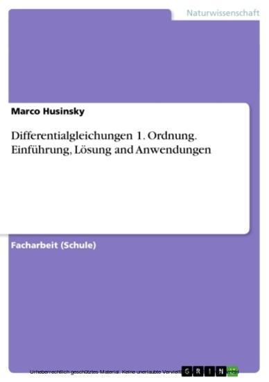 Differentialgleichungen 1. Ordnung. Einführung, Lösung and Anwendungen - Blick ins Buch