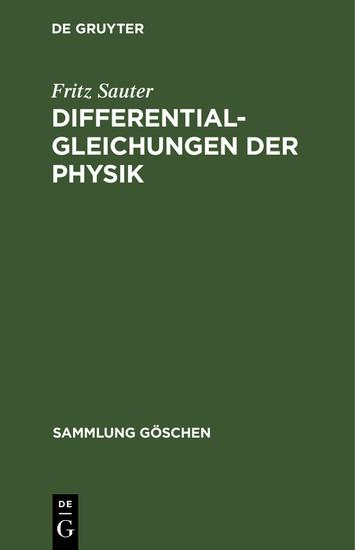 Differentialgleichungen der Physik - Blick ins Buch
