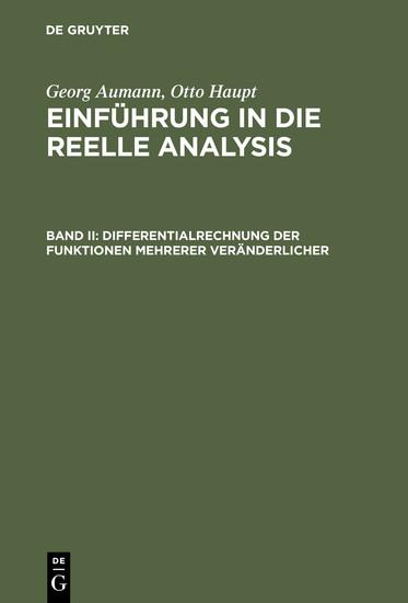 Differentialrechnung der Funktionen mehrerer Veränderlicher - Blick ins Buch