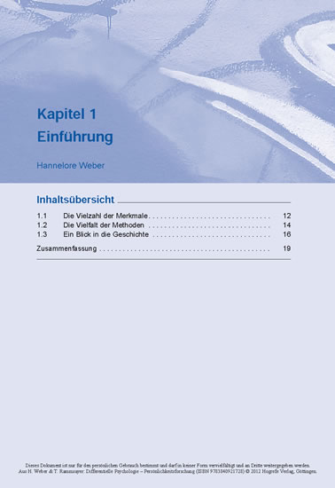Differentielle Psychologie – Persönlichkeitsforschung - Blick ins Buch
