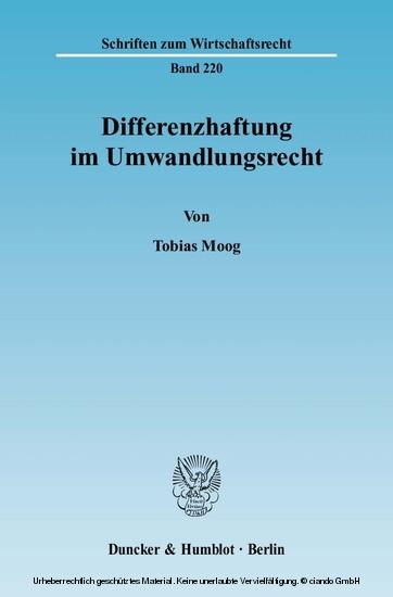 Differenzhaftung im Umwandlungsrecht. - Blick ins Buch