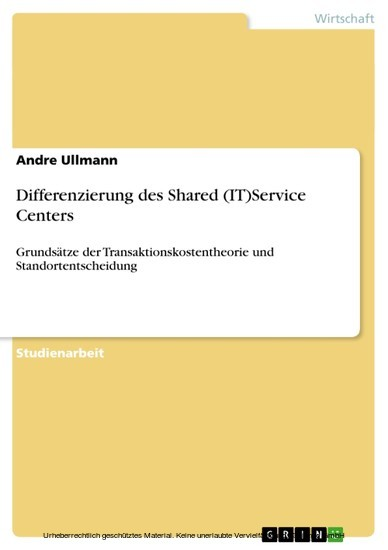 Differenzierung des Shared (IT)Service Centers - Blick ins Buch