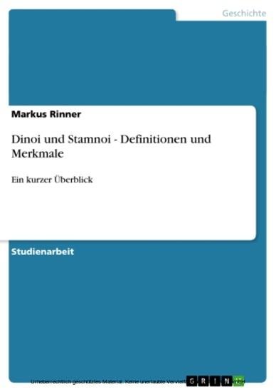 Dinoi und Stamnoi - Definitionen und Merkmale - Blick ins Buch