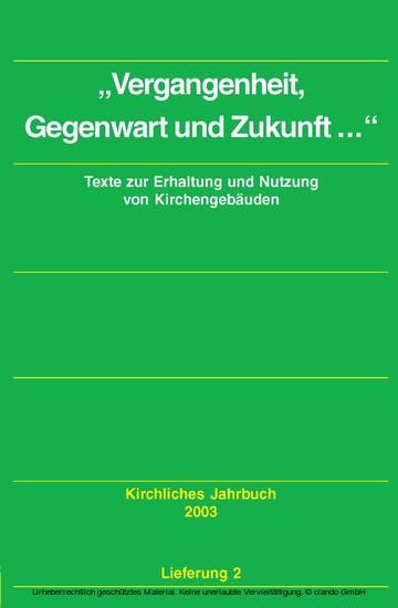 Dokumente zum kirchlichen Zeitgeschehen - Kirchliches Jahrbuch, Jg. 130, Lfg. 2 - Blick ins Buch