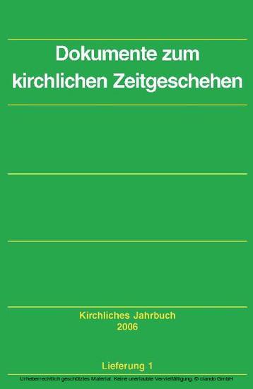 Dokumente zum kirchlichen Zeitgeschehen - Kirchliches Jahrbuch, Jg. 133, Lfg. 1 - Blick ins Buch