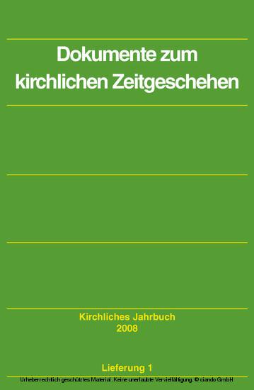 Dokumente zum kirchlichen Zeitgeschehen - Kirchliches Jahrbuch, Jg. 135, Lfg. 1 - Blick ins Buch