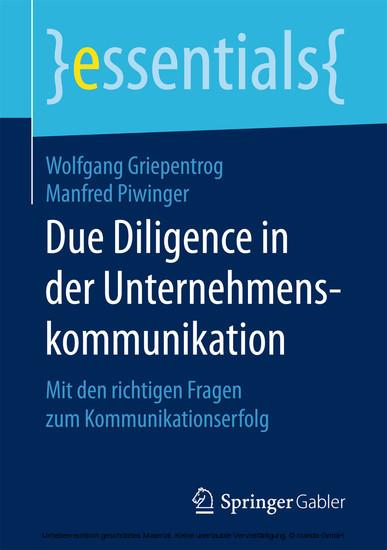 Due Diligence in der Unternehmenskommunikation - Blick ins Buch