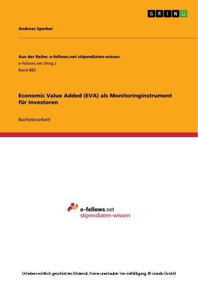 Economic Value Added (EVA) als Monitoringinstrument für Investoren - Blick ins Buch