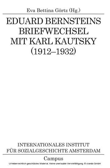 Eduard Bernsteins Briefwechsel mit Karl Kautsky (1912-1932) - Blick ins Buch