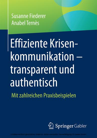 Effiziente Krisenkommunikation - transparent und authentisch - Blick ins Buch