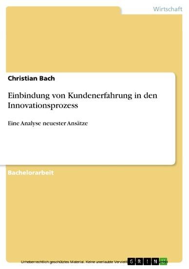 Einbindung von Kundenerfahrung in den Innovationsprozess - Blick ins Buch