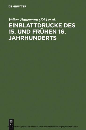 Einblattdrucke des 15. und frühen 16. Jahrhunderts - Blick ins Buch