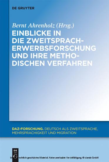 Einblicke in die Zweitspracherwerbsforschung und ihre methodischen Verfahren - Blick ins Buch