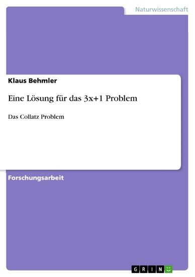 Eine Lösung für das 3x+1 Problem - Blick ins Buch