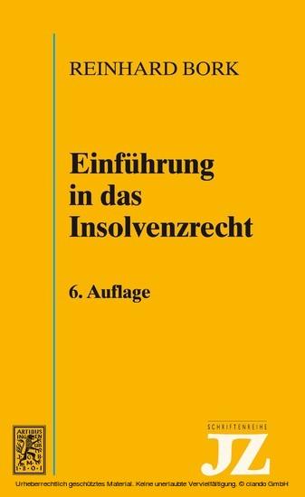 Einführung in das Insolvenzrecht - Blick ins Buch
