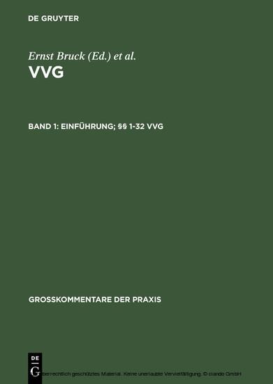 Einführung; §§ 1-32 VVG - Blick ins Buch